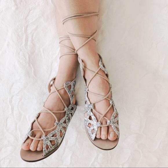 glitter lace up sandals